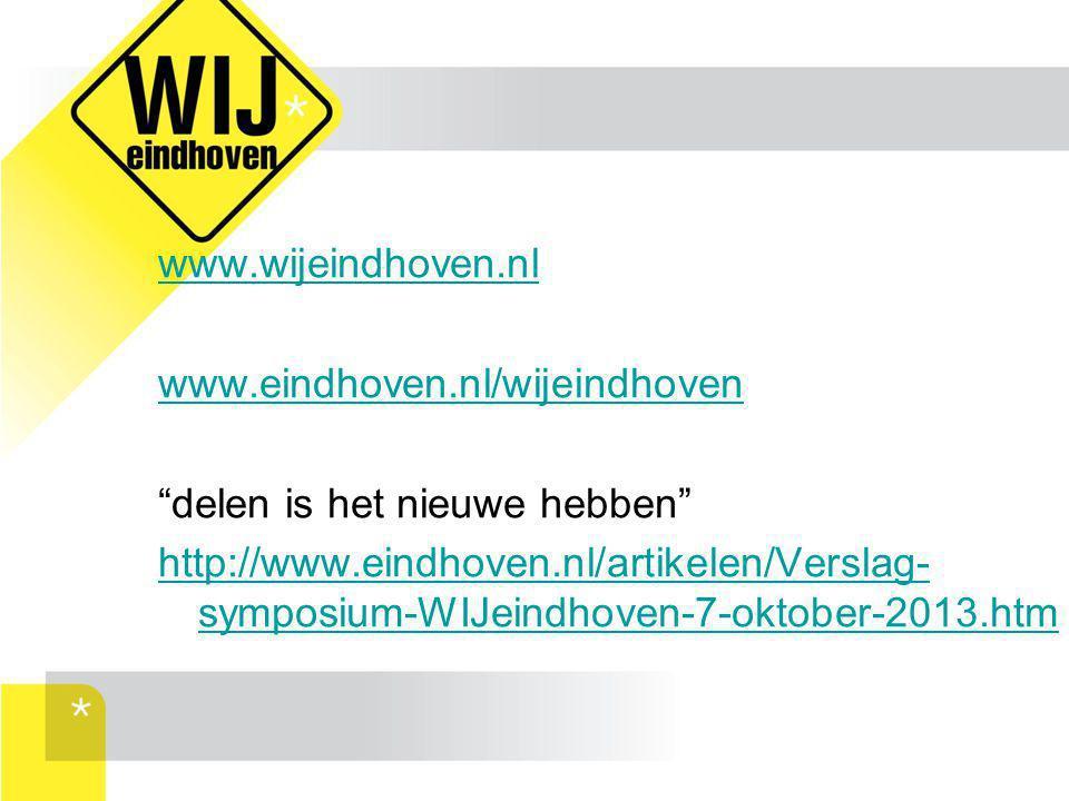 www.wijeindhoven.nl www.eindhoven.nl/wijeindhoven. delen is het nieuwe hebben
