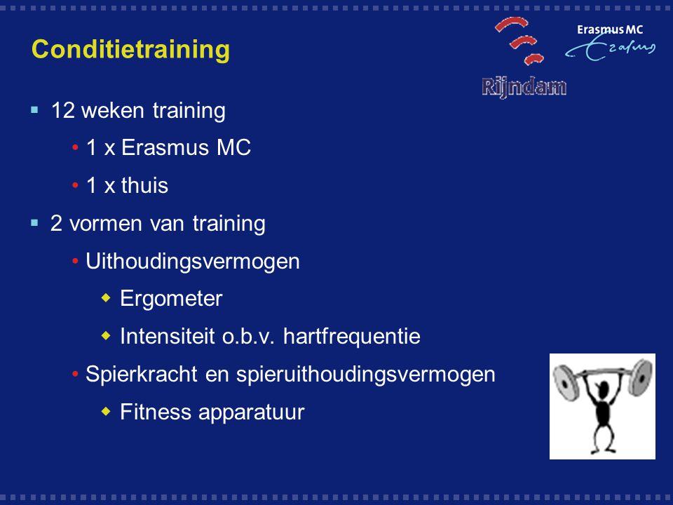 Conditietraining 12 weken training 1 x Erasmus MC 1 x thuis