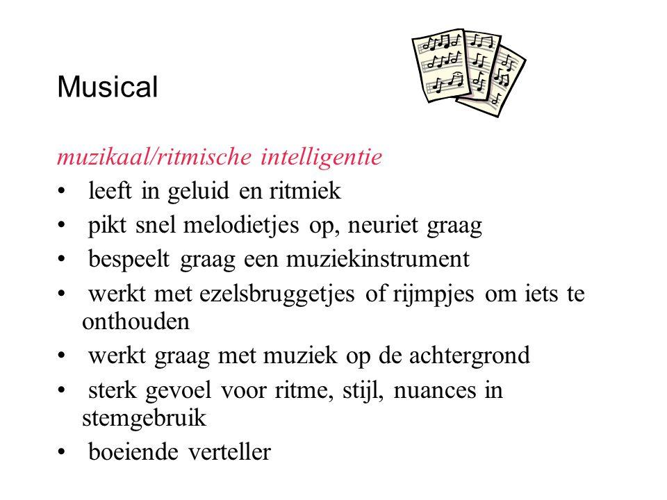 Musical muzikaal/ritmische intelligentie leeft in geluid en ritmiek