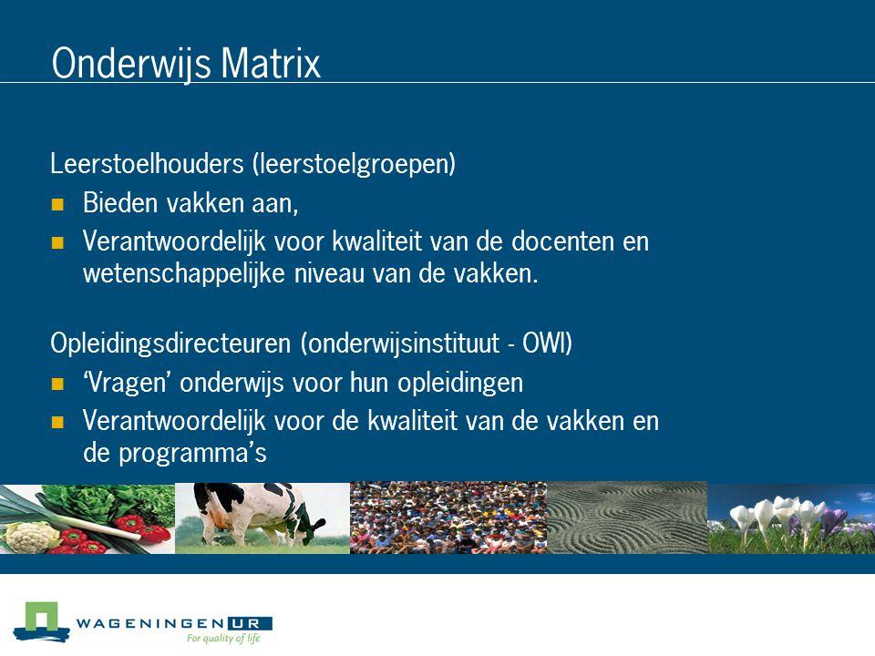 Onderwijs Matrix Leerstoelhouders (leerstoelgroepen)