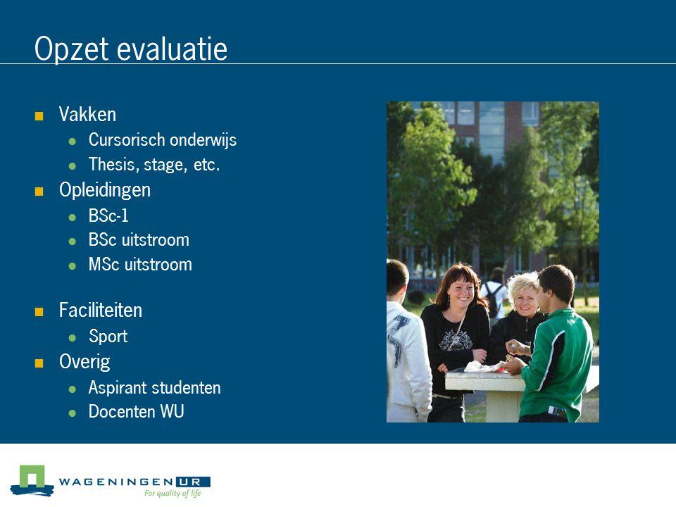 Opzet evaluatie Vakken Opleidingen Faciliteiten Overig