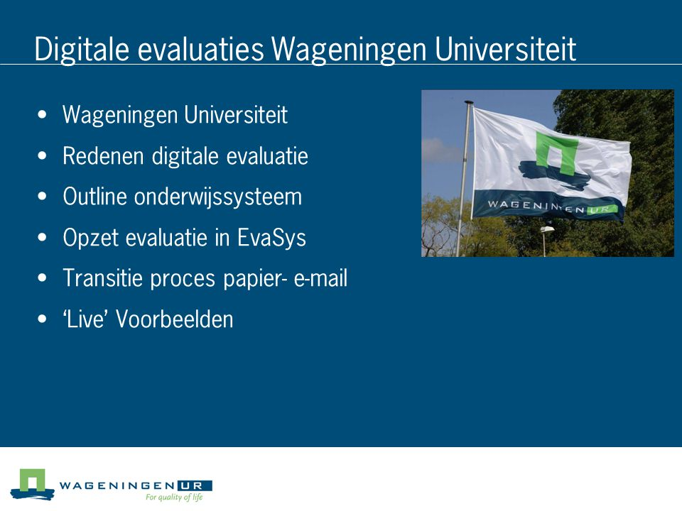 Digitale evaluaties Wageningen Universiteit