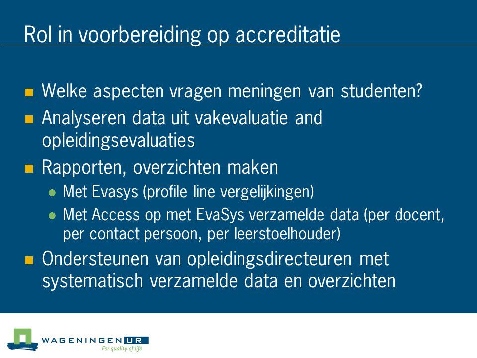 Rol in voorbereiding op accreditatie