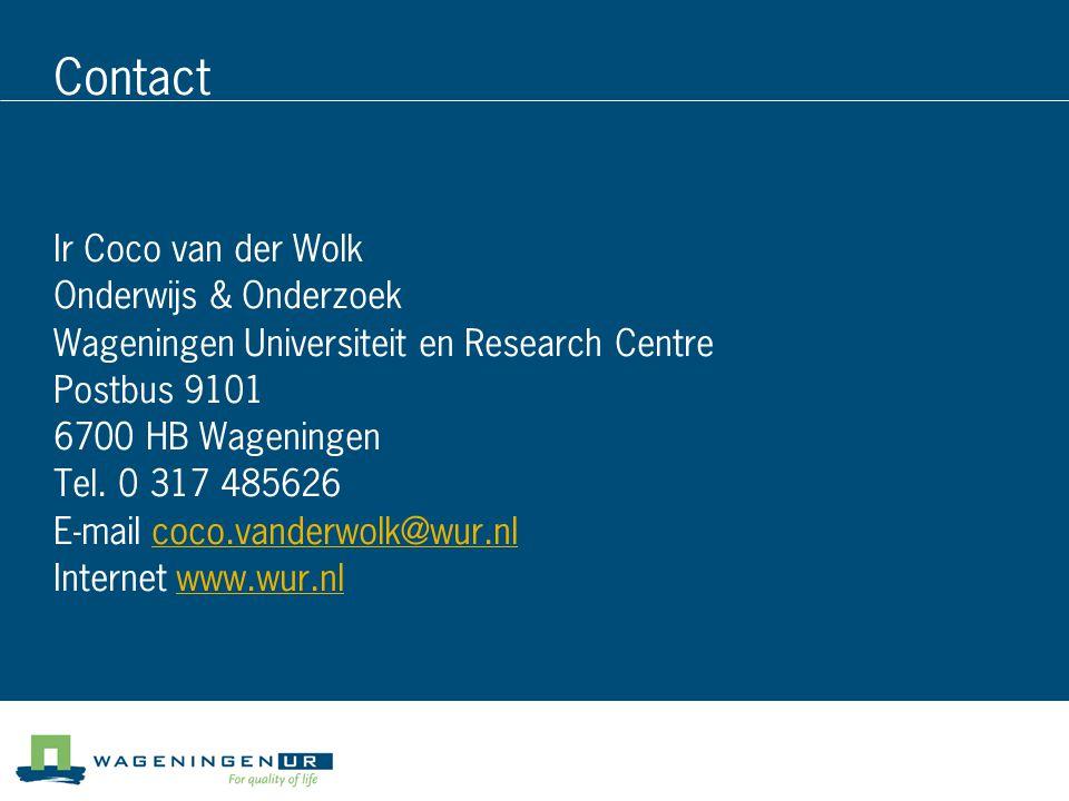 Contact Ir Coco van der Wolk Onderwijs & Onderzoek
