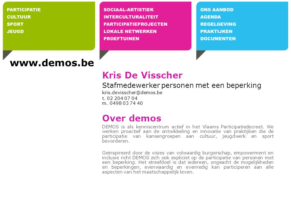 www.demos.be Kris De Visscher Over demos