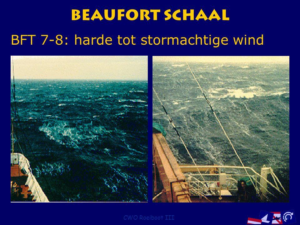 Beaufort Schaal BFT 7-8: harde tot stormachtige wind CWO Roeiboot III