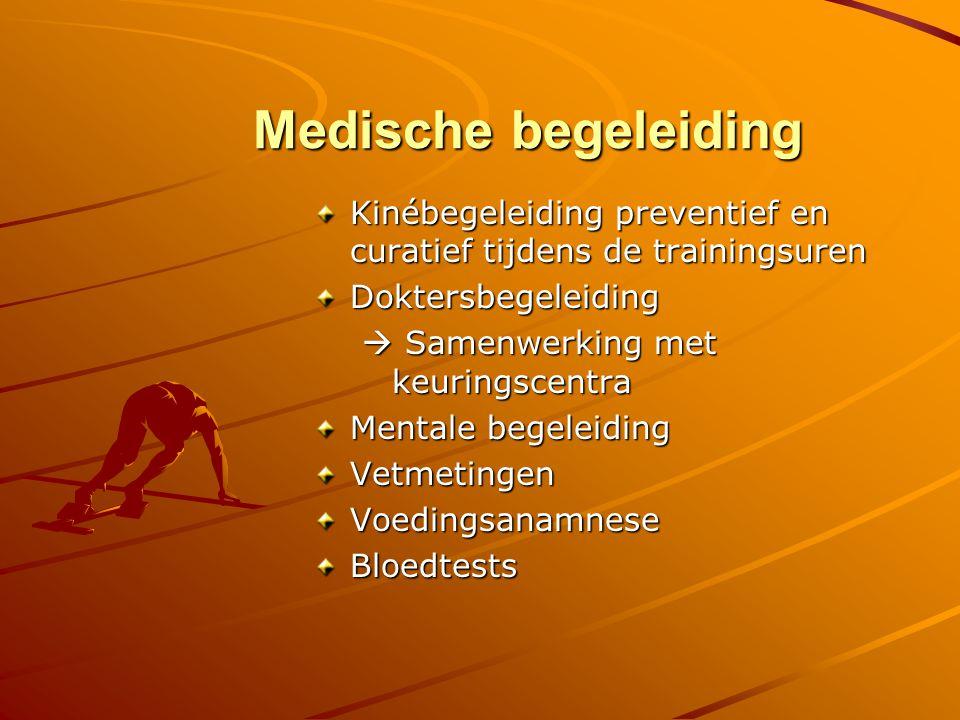 Medische begeleiding Kinébegeleiding preventief en curatief tijdens de trainingsuren. Doktersbegeleiding.