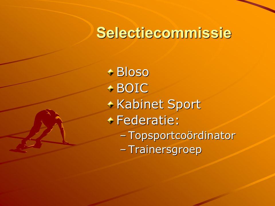 Selectiecommissie Bloso BOIC Kabinet Sport Federatie: