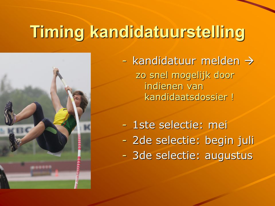 Timing kandidatuurstelling