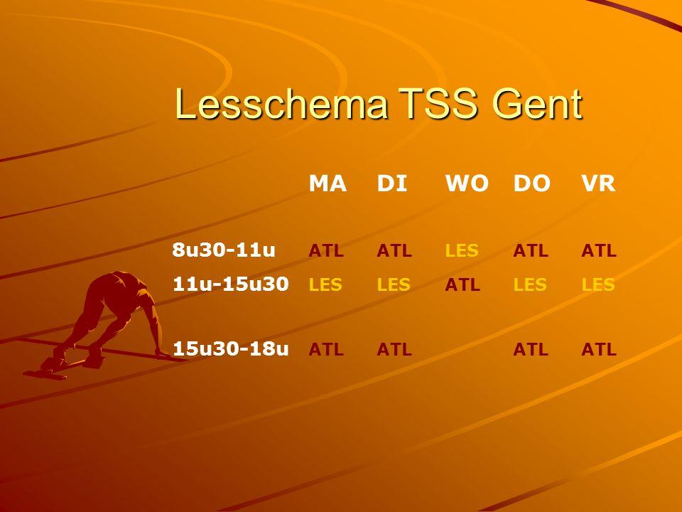 Lesschema TSS Gent MA DI WO DO VR 8u30-11u ATL ATL LES ATL ATL