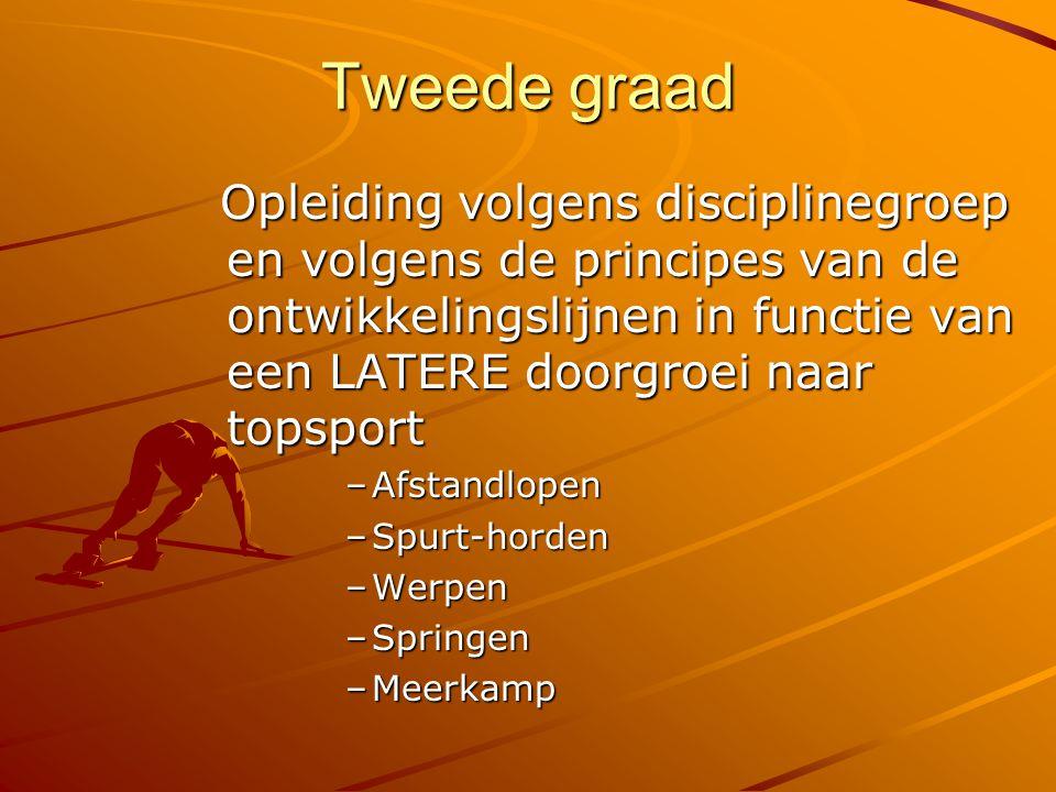 Tweede graad Opleiding volgens disciplinegroep en volgens de principes van de ontwikkelingslijnen in functie van een LATERE doorgroei naar topsport.