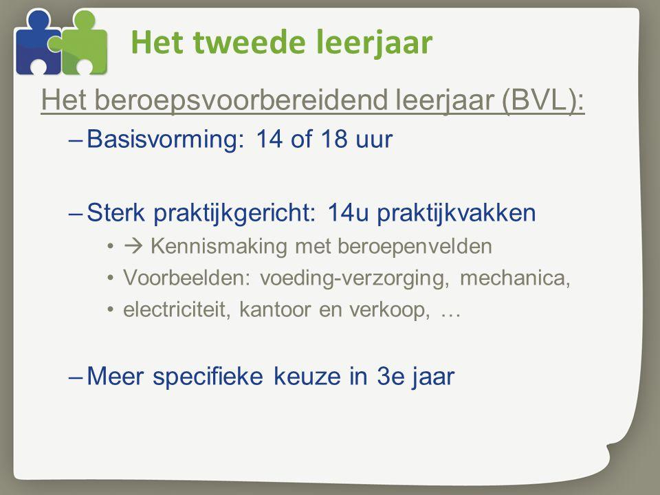 Het tweede leerjaar Het beroepsvoorbereidend leerjaar (BVL):
