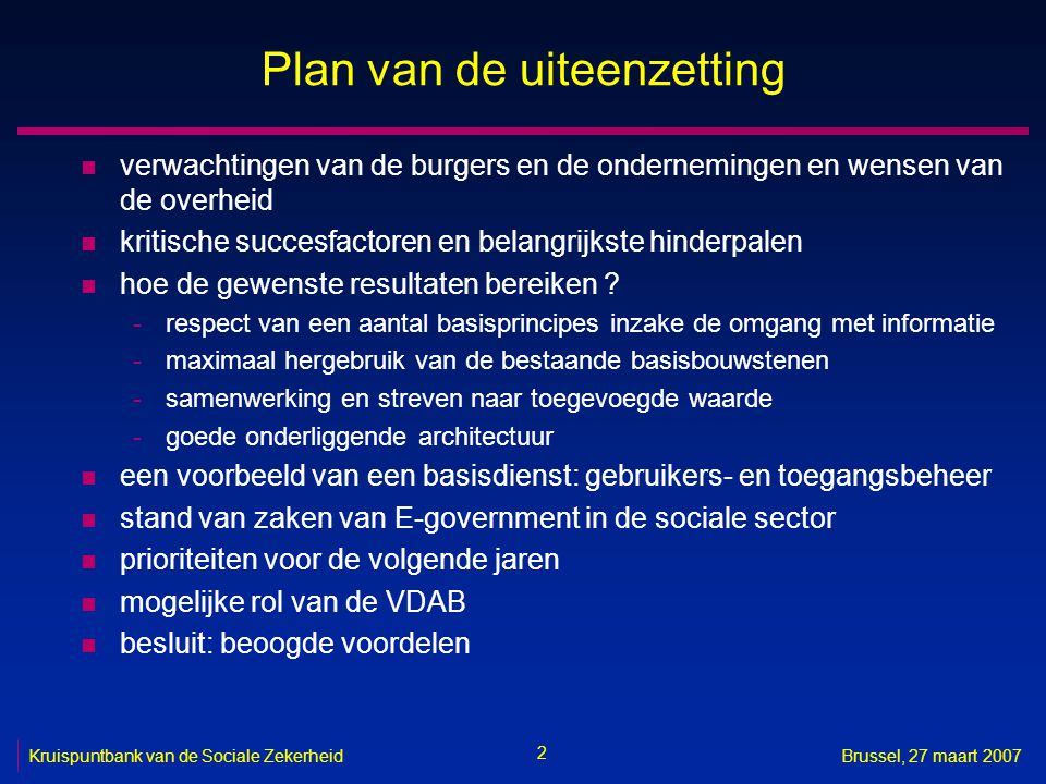 Plan van de uiteenzetting