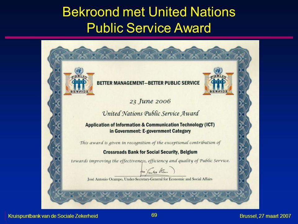 Bekroond met United Nations Public Service Award