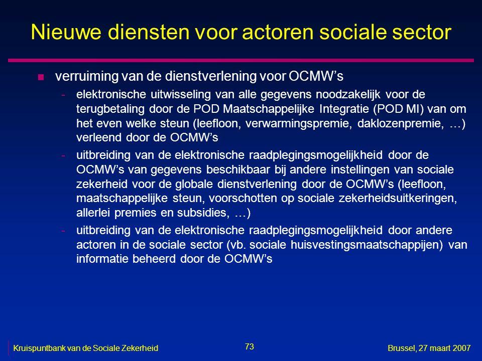 Nieuwe diensten voor actoren sociale sector