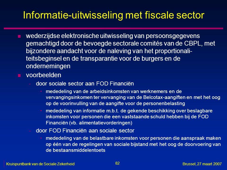 Informatie-uitwisseling met fiscale sector