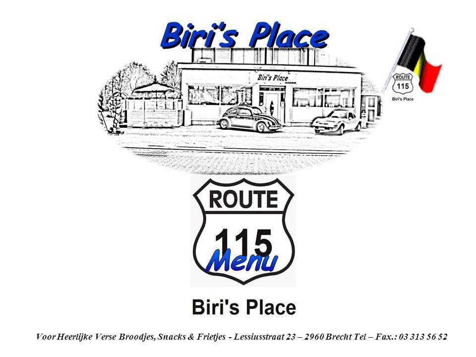 Biri's Place Menu.