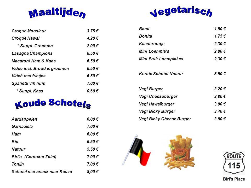 Vegetarisch Maaltijden Koude Schotels Bami 1.80 €