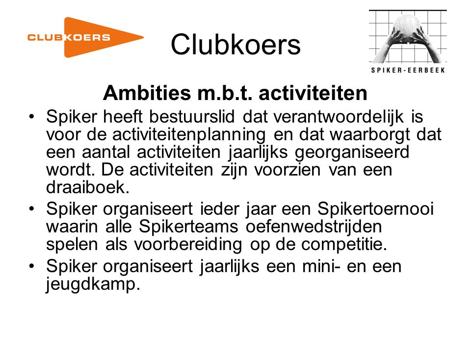 Ambities m.b.t. activiteiten