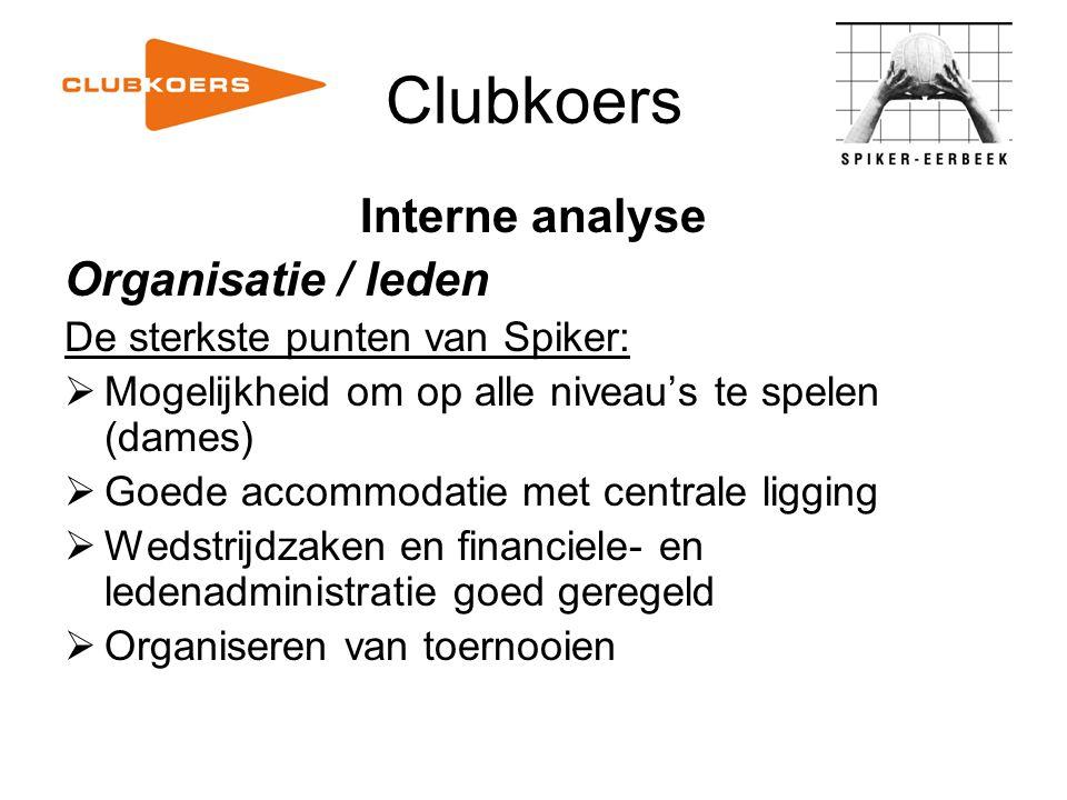Clubkoers Interne analyse Organisatie / leden