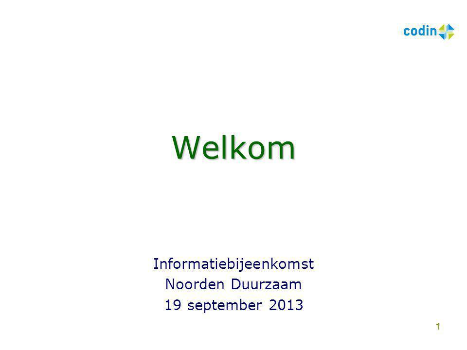 Informatiebijeenkomst Noorden Duurzaam 19 september 2013