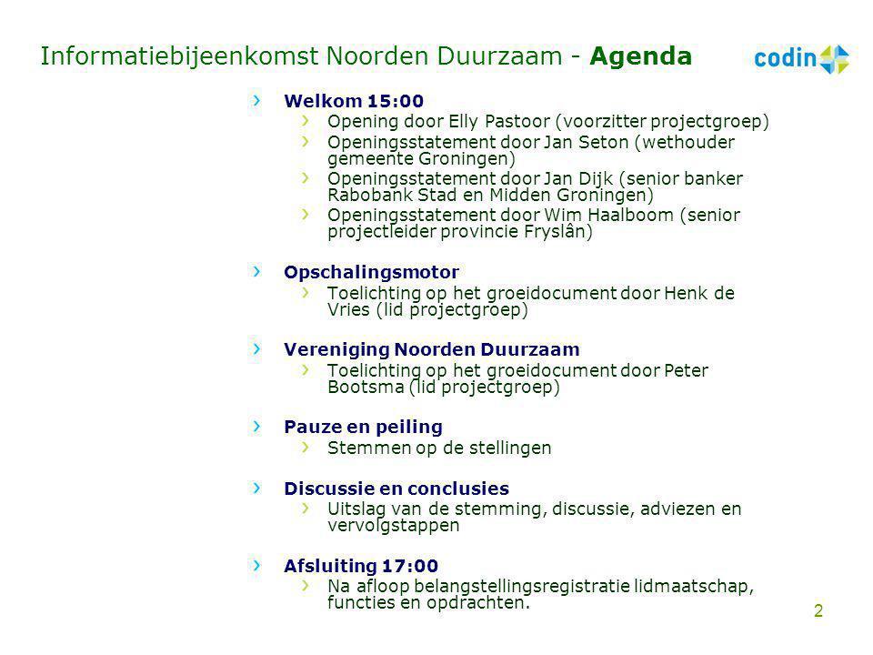 Informatiebijeenkomst Noorden Duurzaam - Agenda