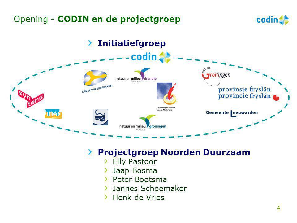 Opening - CODIN en de projectgroep