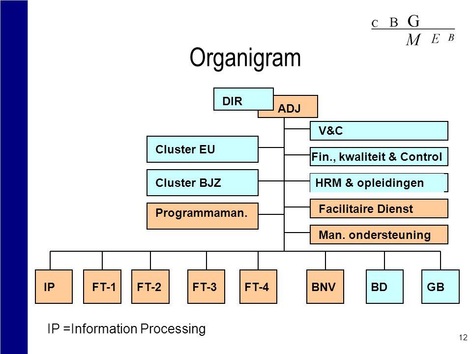 Organigram IP =Information Processing DIR ADJ V&C Cluster EU