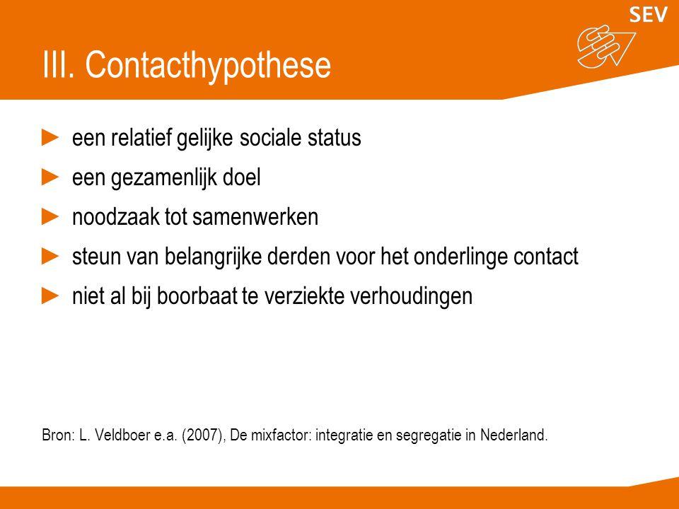 III. Contacthypothese een relatief gelijke sociale status