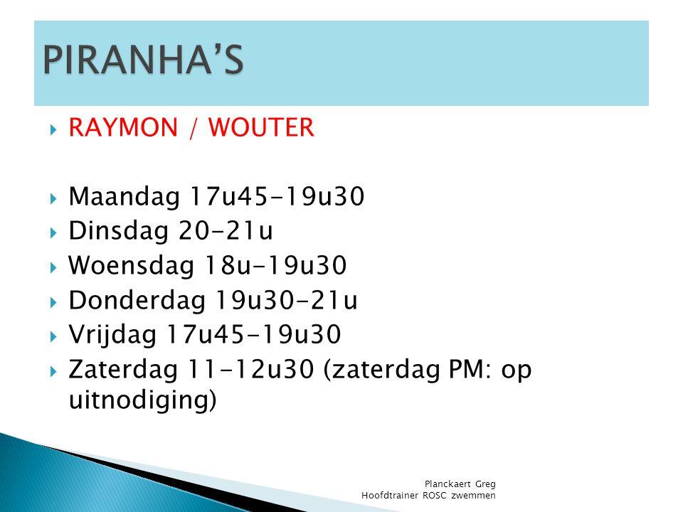PIRANHA'S RAYMON / WOUTER Maandag 17u45-19u30 Dinsdag 20-21u