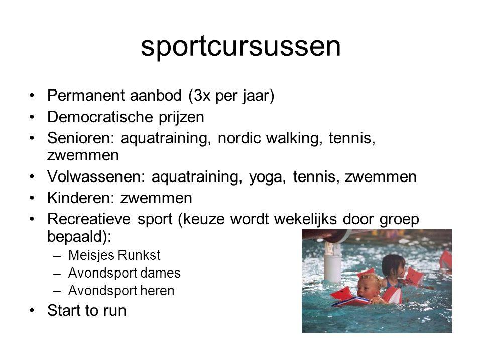 sportcursussen Permanent aanbod (3x per jaar) Democratische prijzen