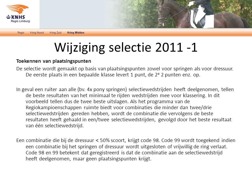 Wijziging selectie 2011 -1 Toekennen van plaatsingspunten