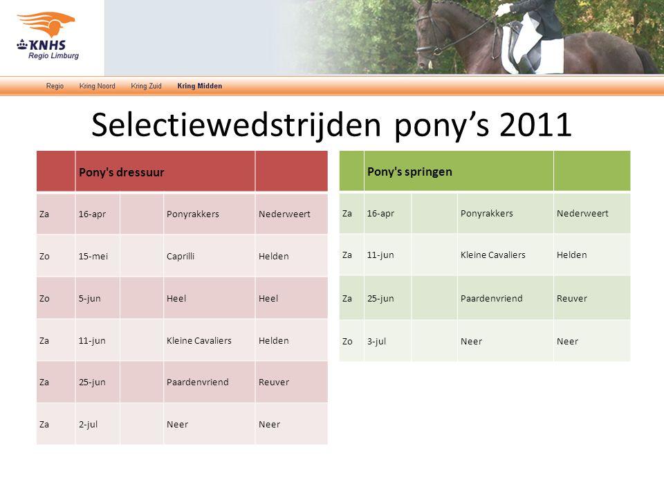 Selectiewedstrijden pony's 2011