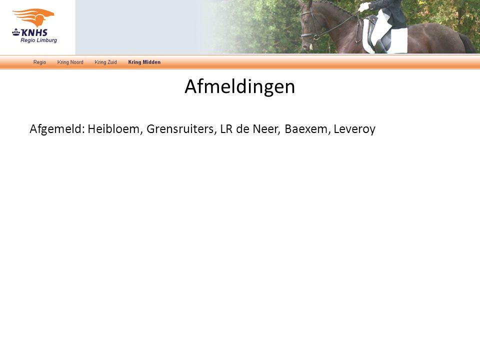 Afmeldingen Afgemeld: Heibloem, Grensruiters, LR de Neer, Baexem, Leveroy