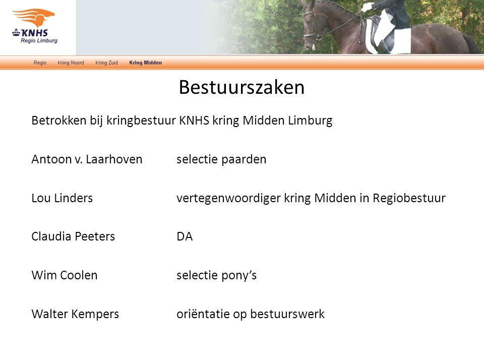 Bestuurszaken Betrokken bij kringbestuur KNHS kring Midden Limburg