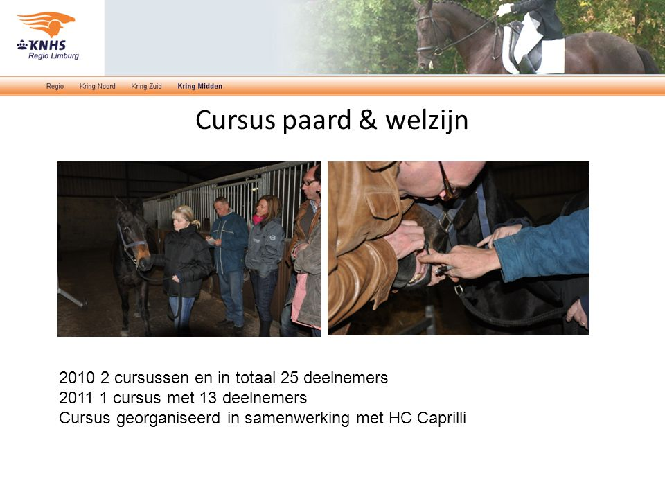 Cursus paard & welzijn 2010 2 cursussen en in totaal 25 deelnemers