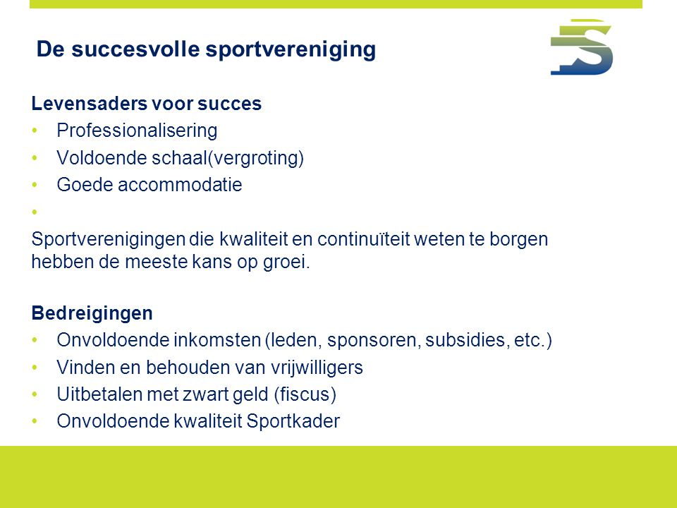 De succesvolle sportvereniging