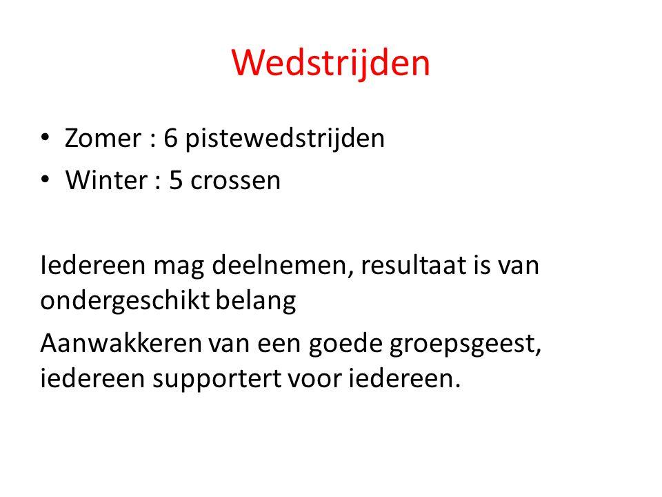 Wedstrijden Zomer : 6 pistewedstrijden Winter : 5 crossen