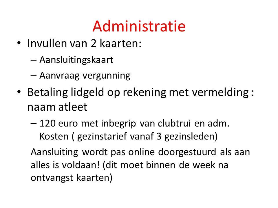 Administratie Invullen van 2 kaarten: