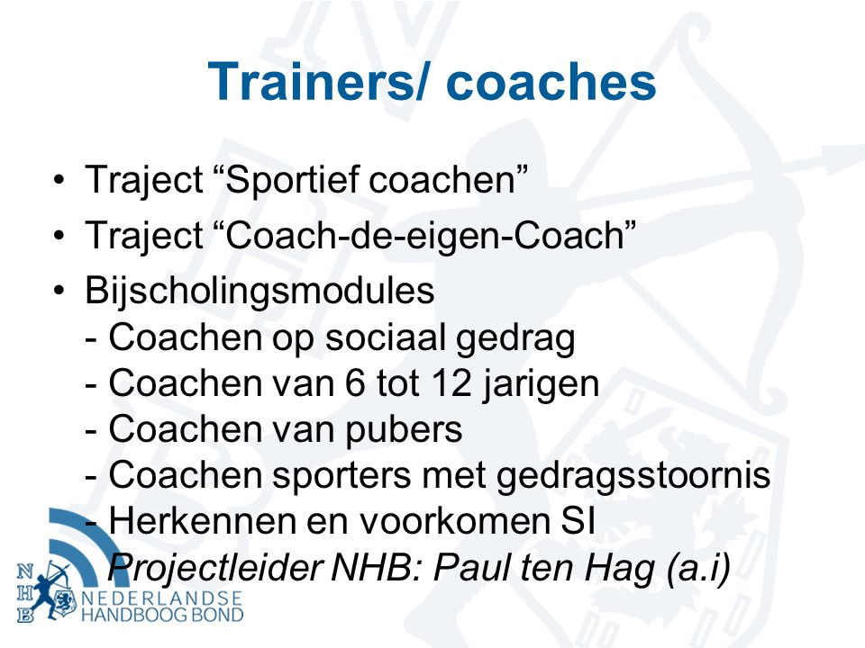 Trainers/ coaches Traject Sportief coachen