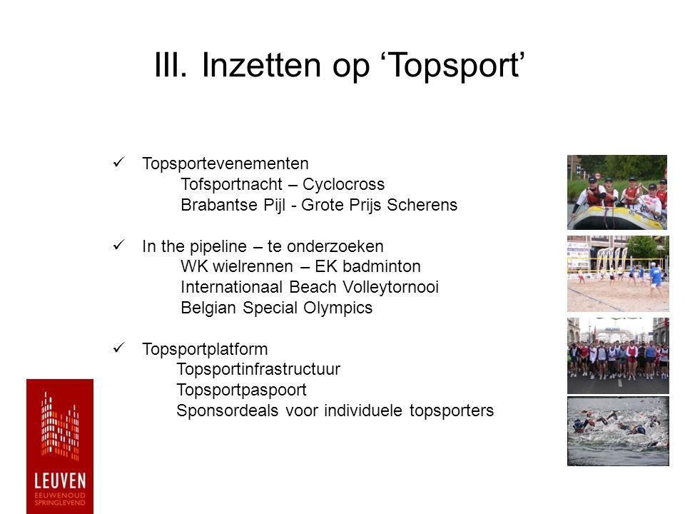 III. Inzetten op 'Topsport'