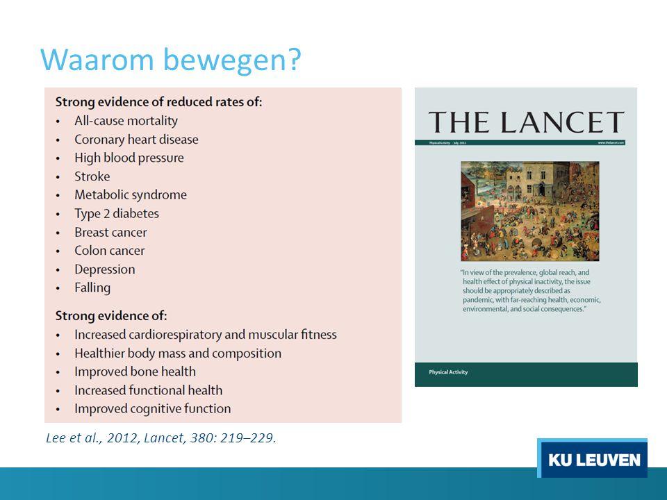 Waarom bewegen Lee et al., 2012, Lancet, 380: 219–229.