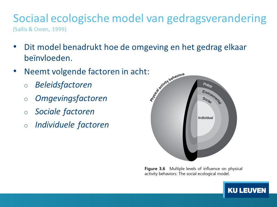 Sociaal ecologische model van gedragsverandering (Sallis & Owen, 1999)
