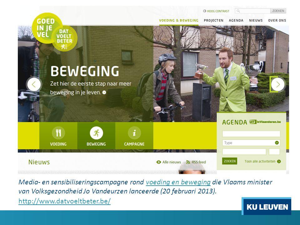 Media- en sensibiliseringscampagne rond voeding en beweging die Vlaams minister van Volksgezondheid Jo Vandeurzen lanceerde (20 februari 2013).