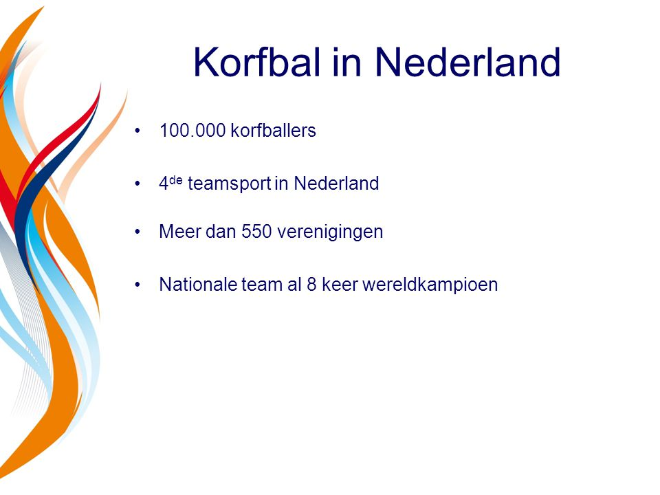 Korfbal in Nederland korfballers 4de teamsport in Nederland