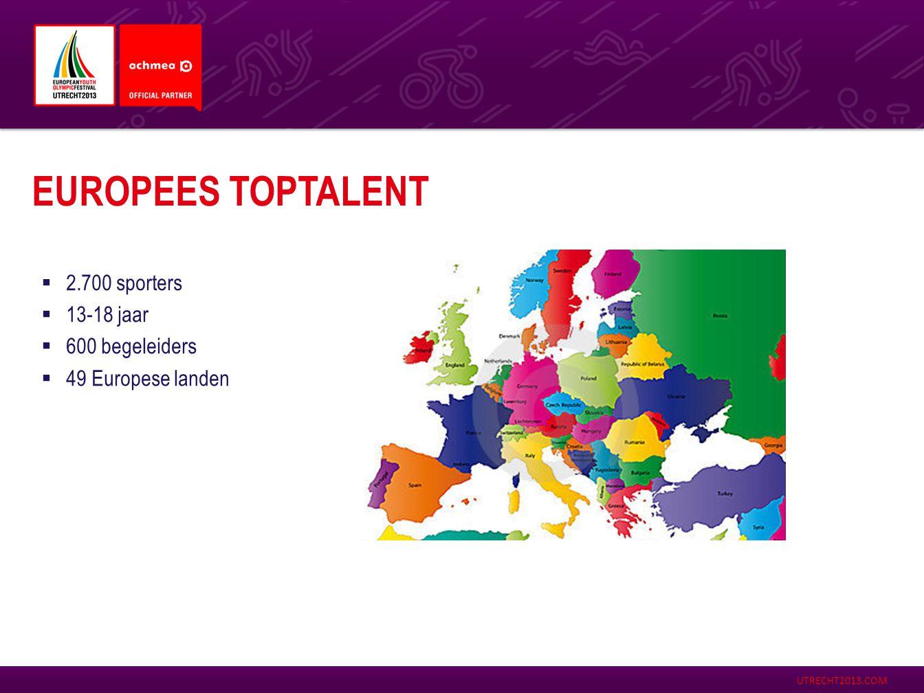 Europees toptalent 2.700 sporters 13-18 jaar 600 begeleiders