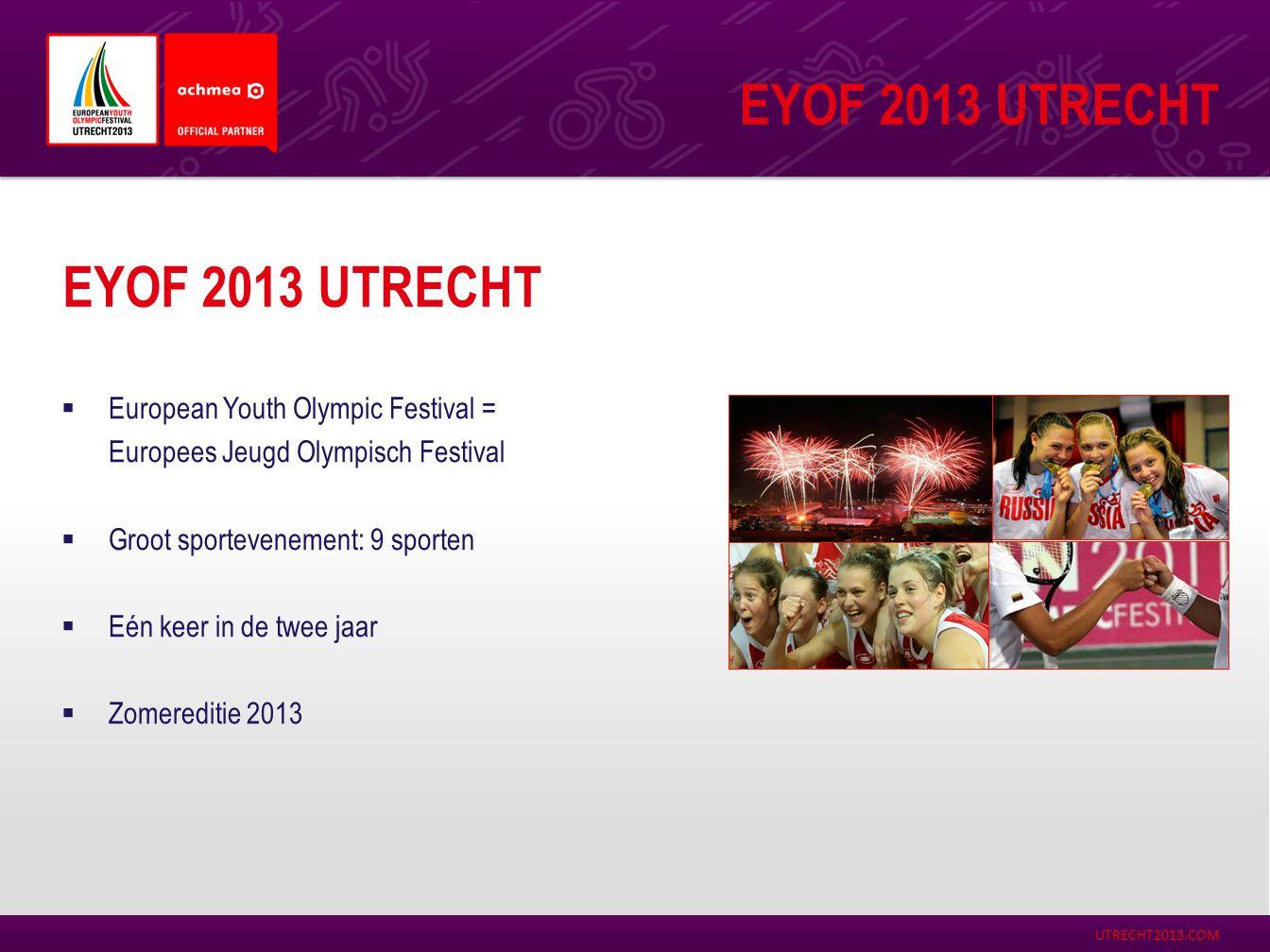 EYOF 2013 Utrecht EYOF 2013 Utrecht European Youth Olympic Festival =