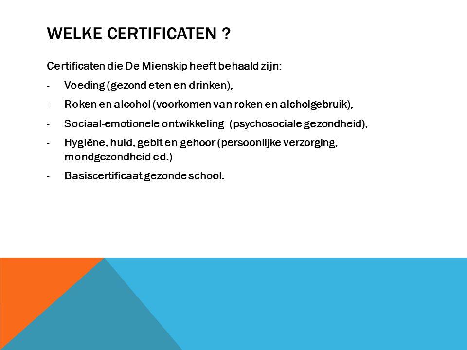Welke certificaten Certificaten die De Mienskip heeft behaald zijn: