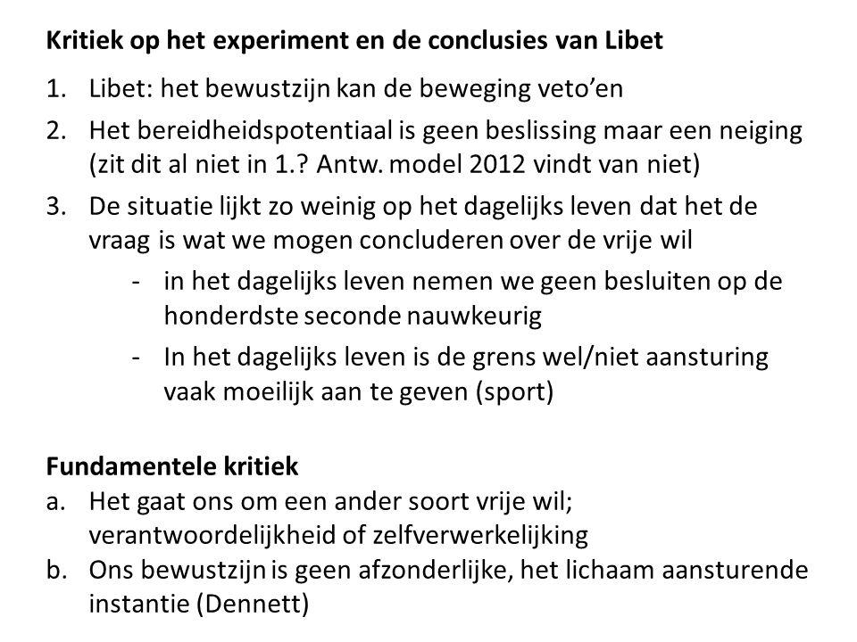 Kritiek op het experiment en de conclusies van Libet
