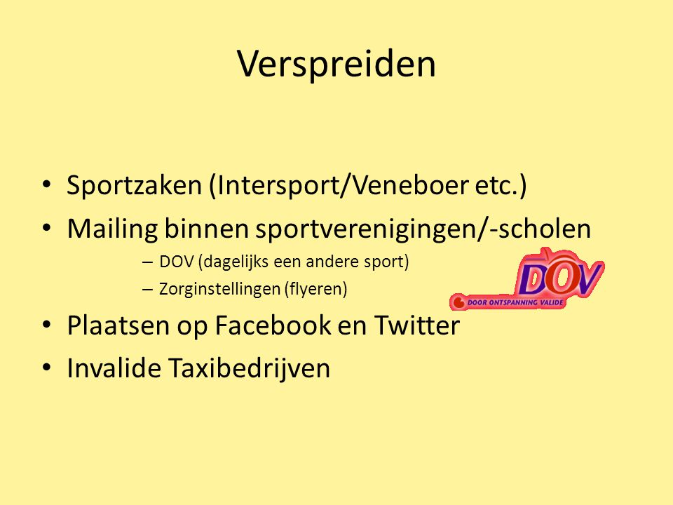 Verspreiden Sportzaken (Intersport/Veneboer etc.)